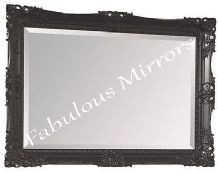 "Black Shabby Chic Ornate Decorative Carved Wall Mirror 37.5"" x 27.5"" *NEW*"
